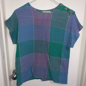 Vintage Multi-Color Knitted Top with Buttons